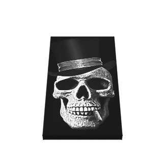 Cráneo del sombrero de copa impresión en lienzo estirada