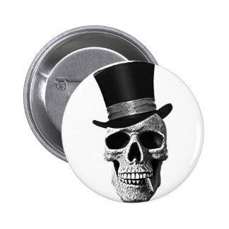 Cráneo del sombrero de copa pin redondo 5 cm