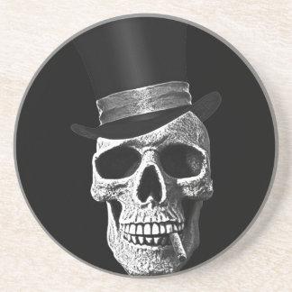 Cráneo del sombrero de copa posavasos para bebidas