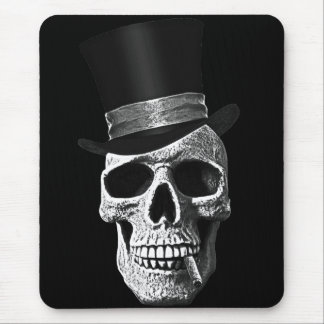 Cráneo del sombrero de copa tapete de raton