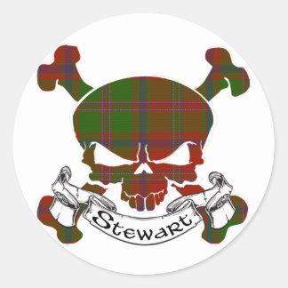 Cráneo del tartán de Stewart Etiquetas Redondas