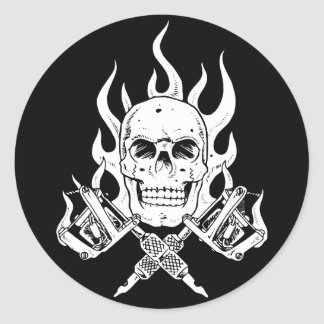 Cráneo del tatuaje pegatina redonda