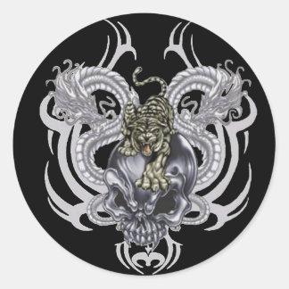 Cráneo del tigre pegatina redonda