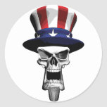 Cráneo del tío Sam Pegatinas Redondas