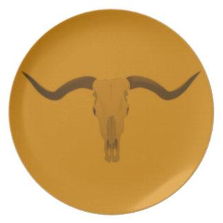 Cráneo del toro del fonolocalizador de bocinas gra plato
