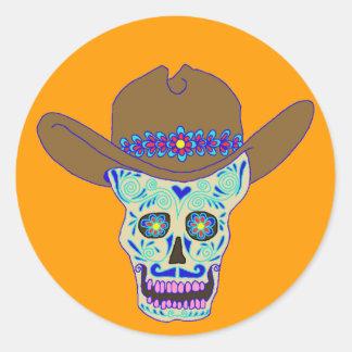 cráneo del vaquero, Dia de los Muertos Pegatina Redonda