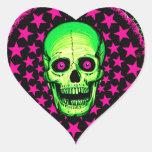 Cráneo del vintage calcomania corazon