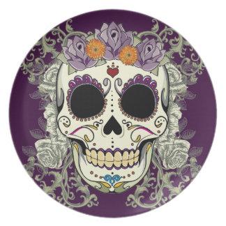 Cráneo del vintage y placa de las flores plato de comida