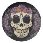 Cráneo del vintage y placa de los rosas platos