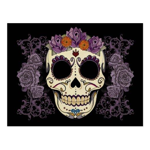 Cráneo del vintage y postal de los rosas