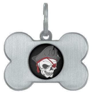 Cráneo del zombi del pirata placa de mascota