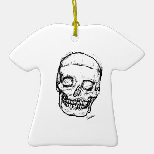 Cráneo del zombi que dibuja 1 adorno navideño de cerámica en forma de playera