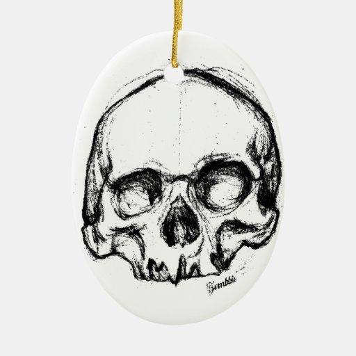 Cráneo del zombi que dibuja 4 adorno navideño ovalado de cerámica