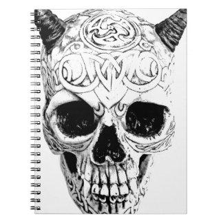 Cráneo demoníaco de Halloween Horror gótico de Di Libro De Apuntes Con Espiral