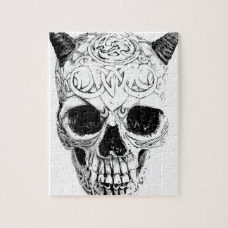 Cráneo demoníaco de Halloween. Horror gótico de Di Puzzle Con Fotos