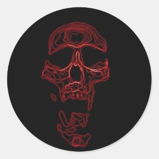 Cráneo divertido chistoso pegatina redonda