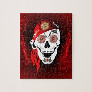 Cráneo divertido del suger con el pañuelo rojo rompecabezas