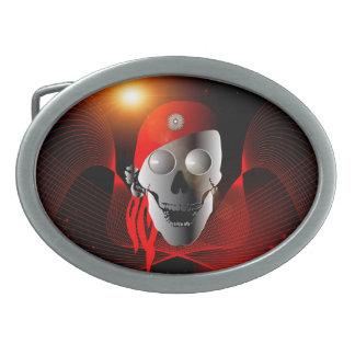 Cráneo divertido hecho del metal con el pañuelo hebilla de cinturon oval