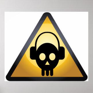 Cráneo DJ del dibujo animado Póster