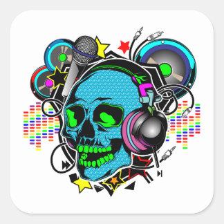 Cráneo DJ Pegatina Cuadrada
