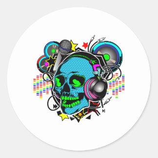 Cráneo DJ Pegatina Redonda