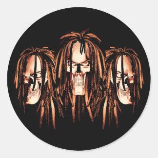Cráneo Dreadlocks Etiqueta Redonda