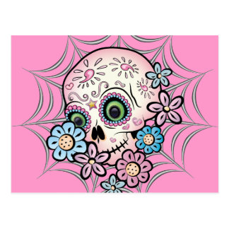 Cráneo dulce del azúcar tarjeta postal
