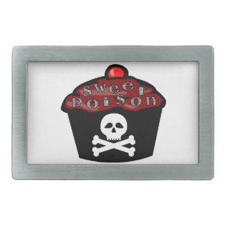 Cráneo dulce y bandera pirata de la magdalena del hebillas de cinturón rectangulares