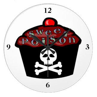 Cráneo dulce y bandera pirata de la magdalena del reloj redondo grande