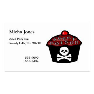 Cráneo dulce y bandera pirata de la magdalena del tarjetas de visita