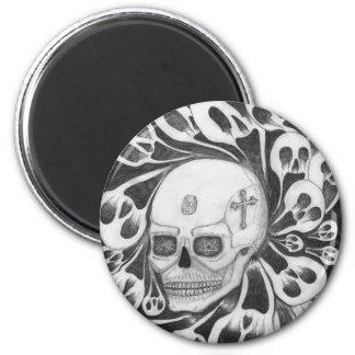Cráneo e imágenes de las almas imán redondo 5 cm