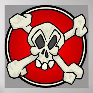 Cráneo e impresión de la bandera pirata