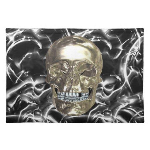 Cráneo eléctrico Placemat del cromo Manteles