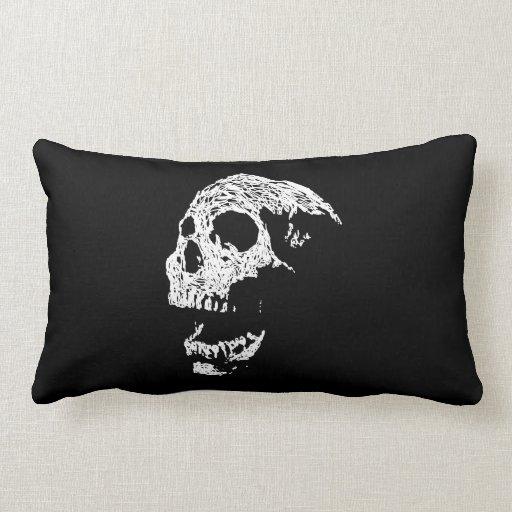 Cráneo en blanco en negro cojin