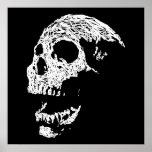 Cráneo en blanco en negro poster