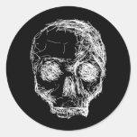 Cráneo en blanco y negro. pegatinas
