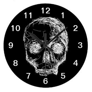 Cráneo en blanco y negro. reloj redondo grande