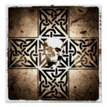 Cráneo en el negro de la cruz céltica, sepia, post