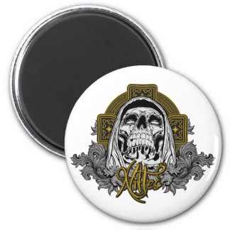 Cráneo en infierno imán redondo 5 cm