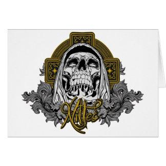 Cráneo en infierno tarjeta de felicitación