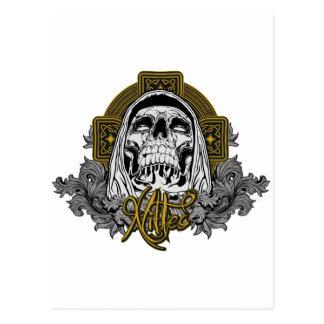 Cráneo en infierno tarjeta postal