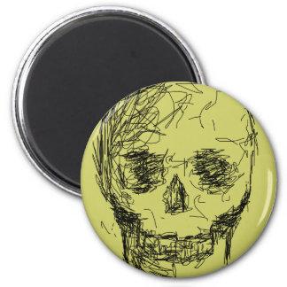 Cráneo, en negro imán redondo 5 cm