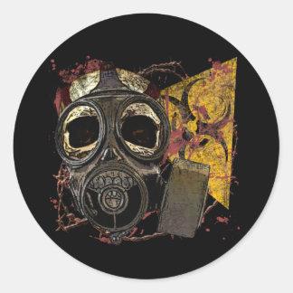 Cráneo en respirador etiqueta redonda