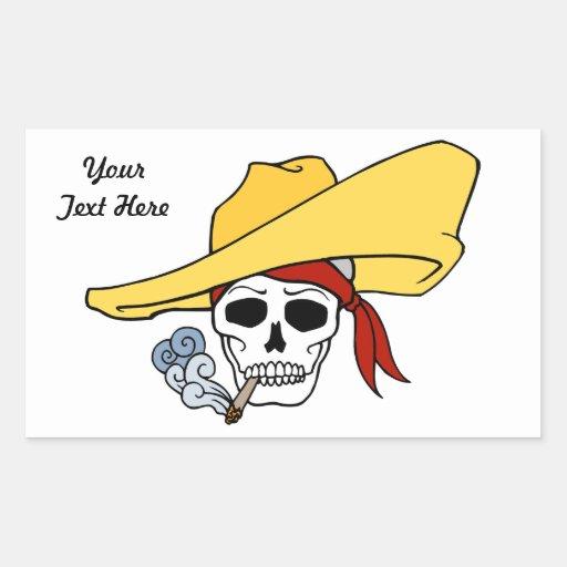 Cráneo en sombrero pegatina rectangular