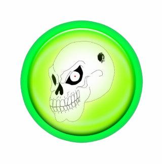 Cráneo enojado en escultura verde del llavero llavero fotográfico