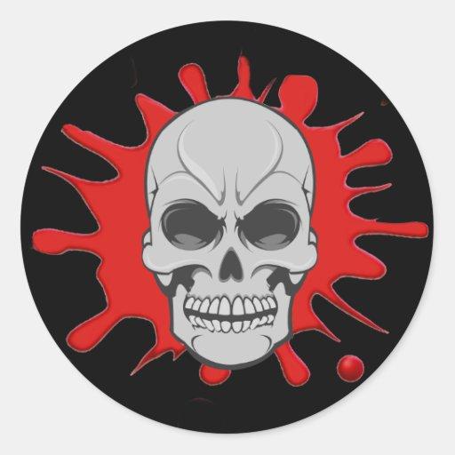 Cráneo enojado y sangre Splat: Pegatina de encargo