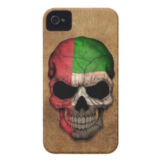 Cráneo envejecido y llevado de la bandera de Unite Case-Mate iPhone 4 Fundas