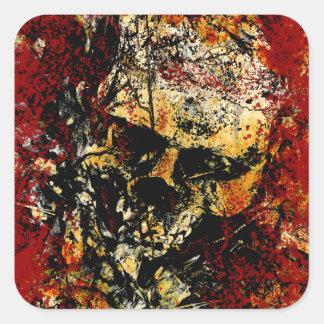 Cráneo erosionado oxidado pegatina cuadrada