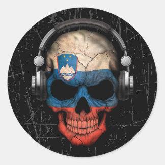 Cráneo esloveno rasguñado de DJ con los Pegatina Redonda