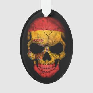 Cráneo español de la bandera en negro